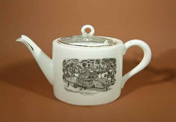 Teapot, hard paste porcelain, decorated with black transfer-printed scenes from Belle Vue Zoological Gardens; Flower Garden, Monkey House and Bear Pits