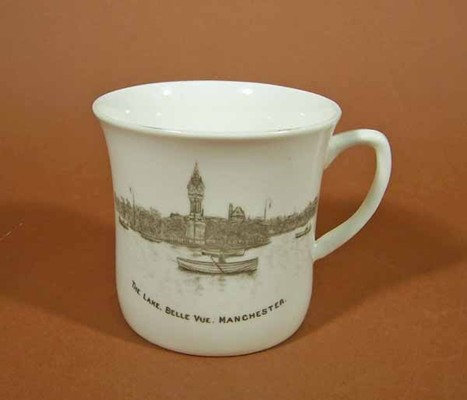 "Coffee can, bone china, decorated with black transfer-printed lake scene from Belle Vue Zoological Gardens. Text reads ""The Lake. Belle Vue. Manchester""."