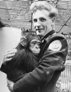 Photo of chimpanzee and keeper, 1946
